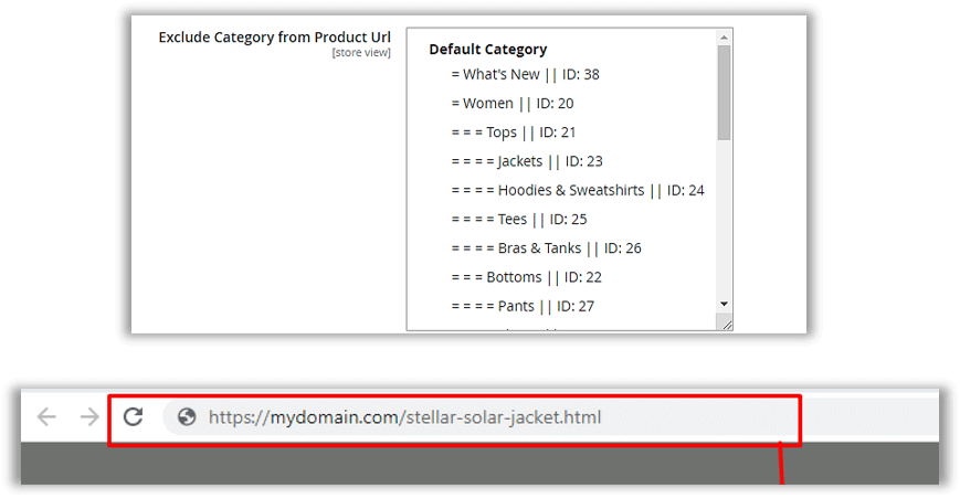Exclude category path