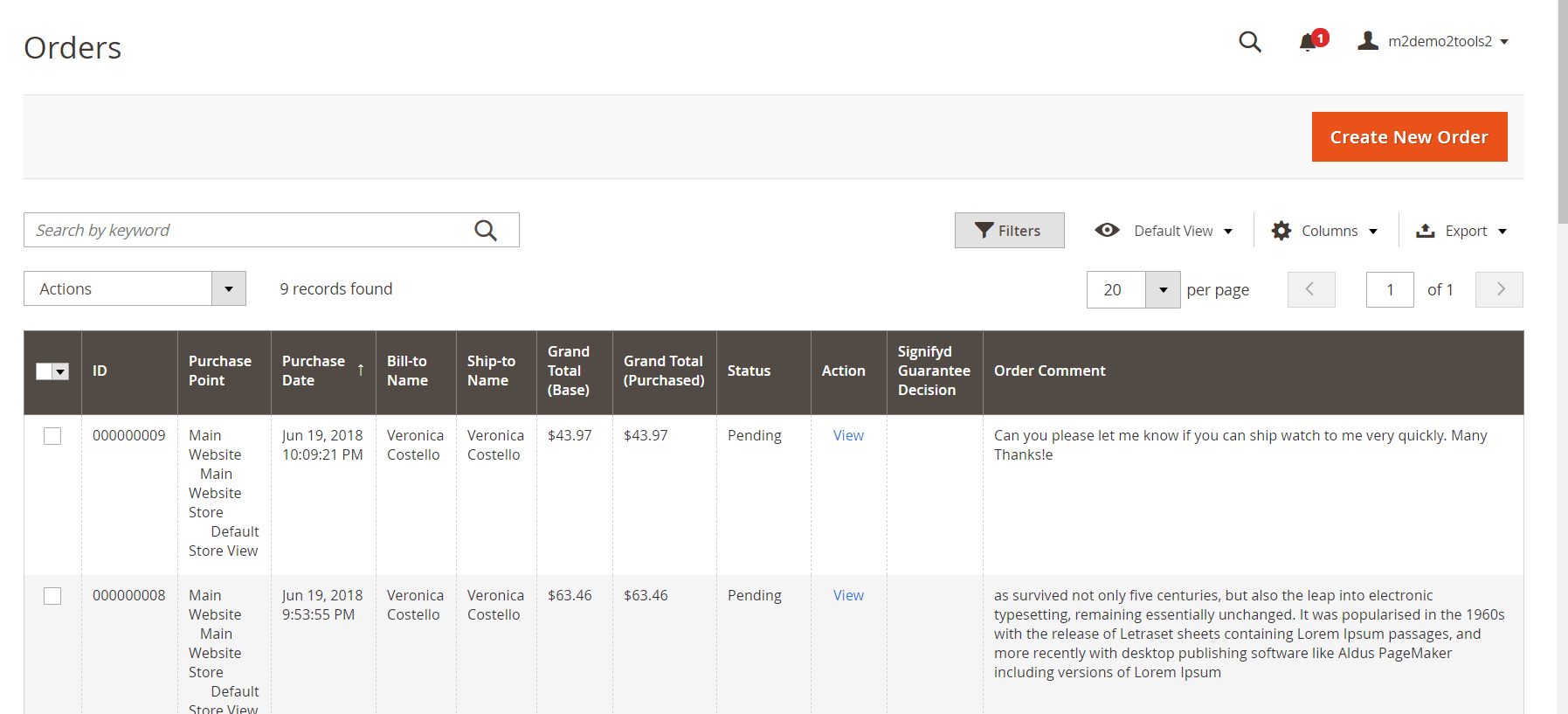 Order comment on admin grid