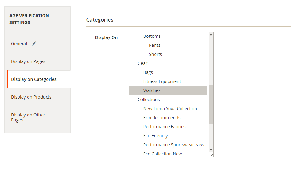 Select the categories to display the age check