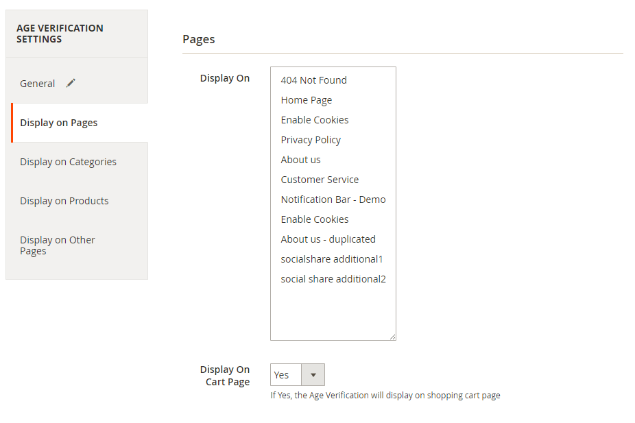 Select the pages to display the age check