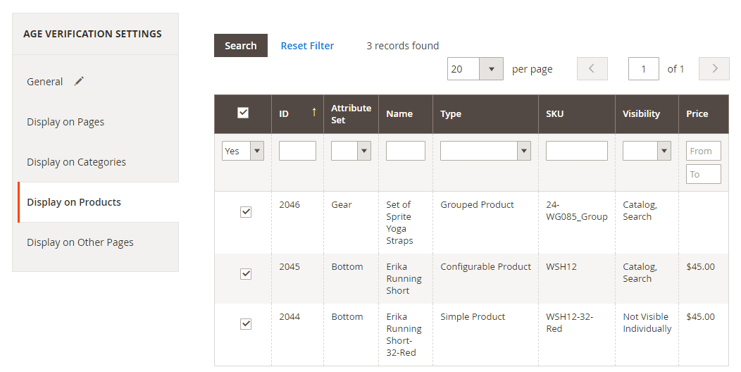 Select the products to display the age check