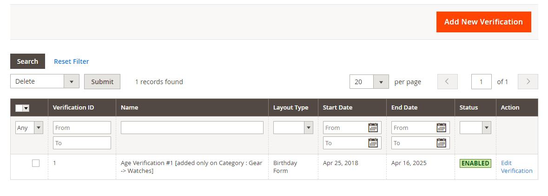 Manage age verifications