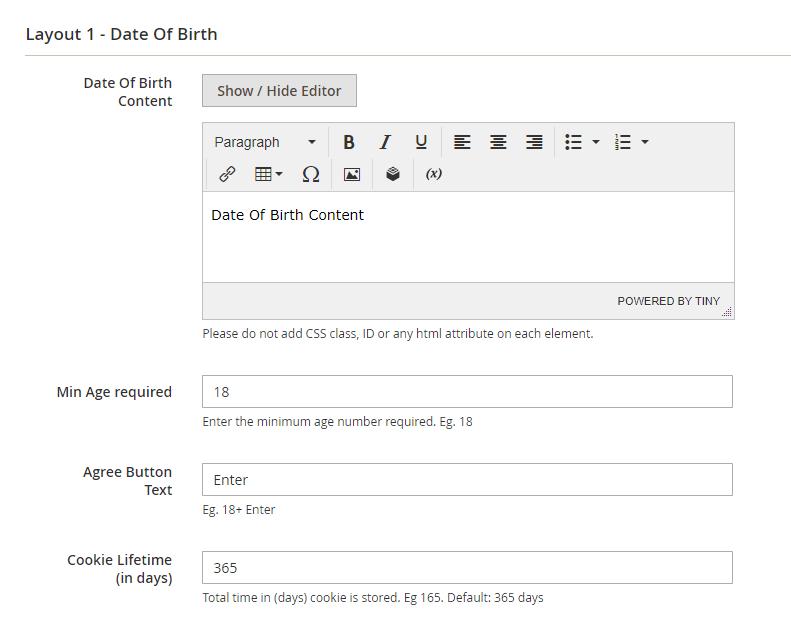 Layout 1 settings