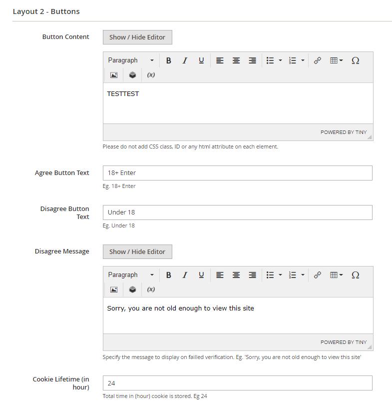 Layout 2 settings
