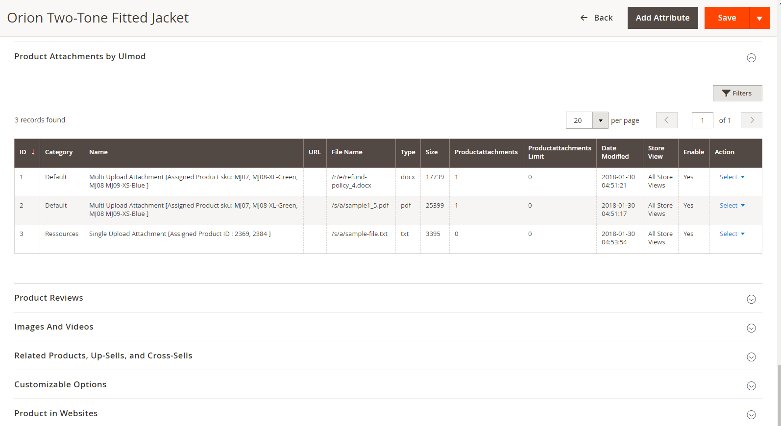 Manage attachments from edit product page