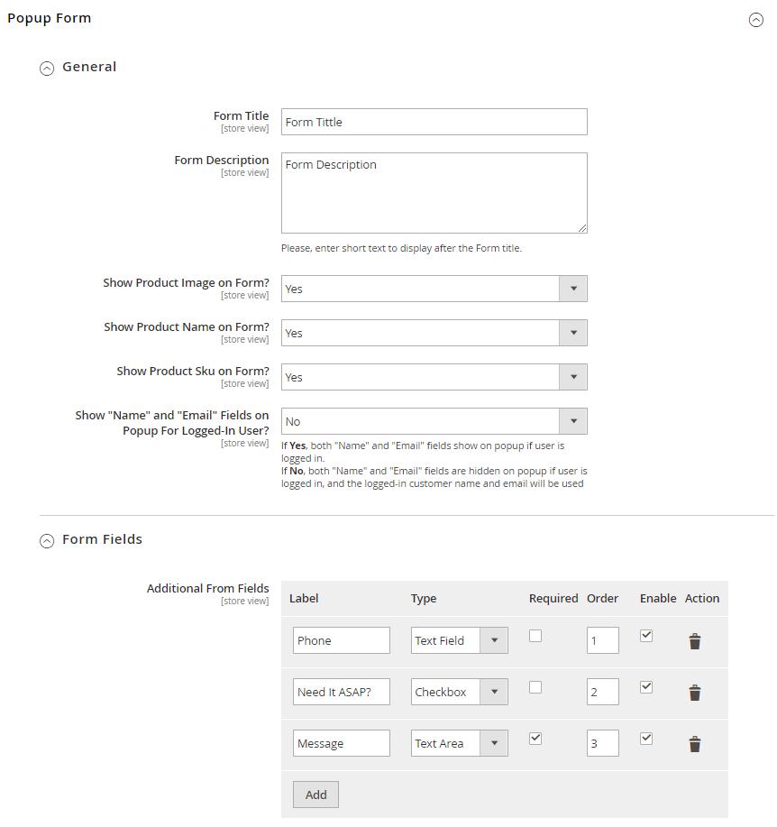 Popup settings