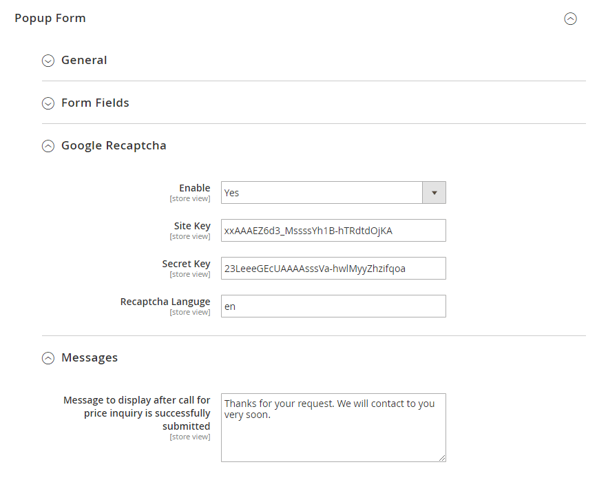 Google ReCaptcha and messages settings