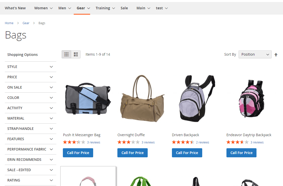 Call for price on category page