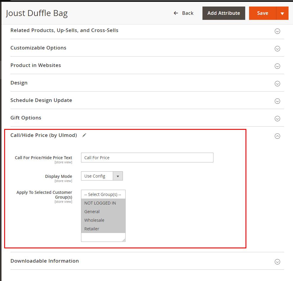 Configure per particular product