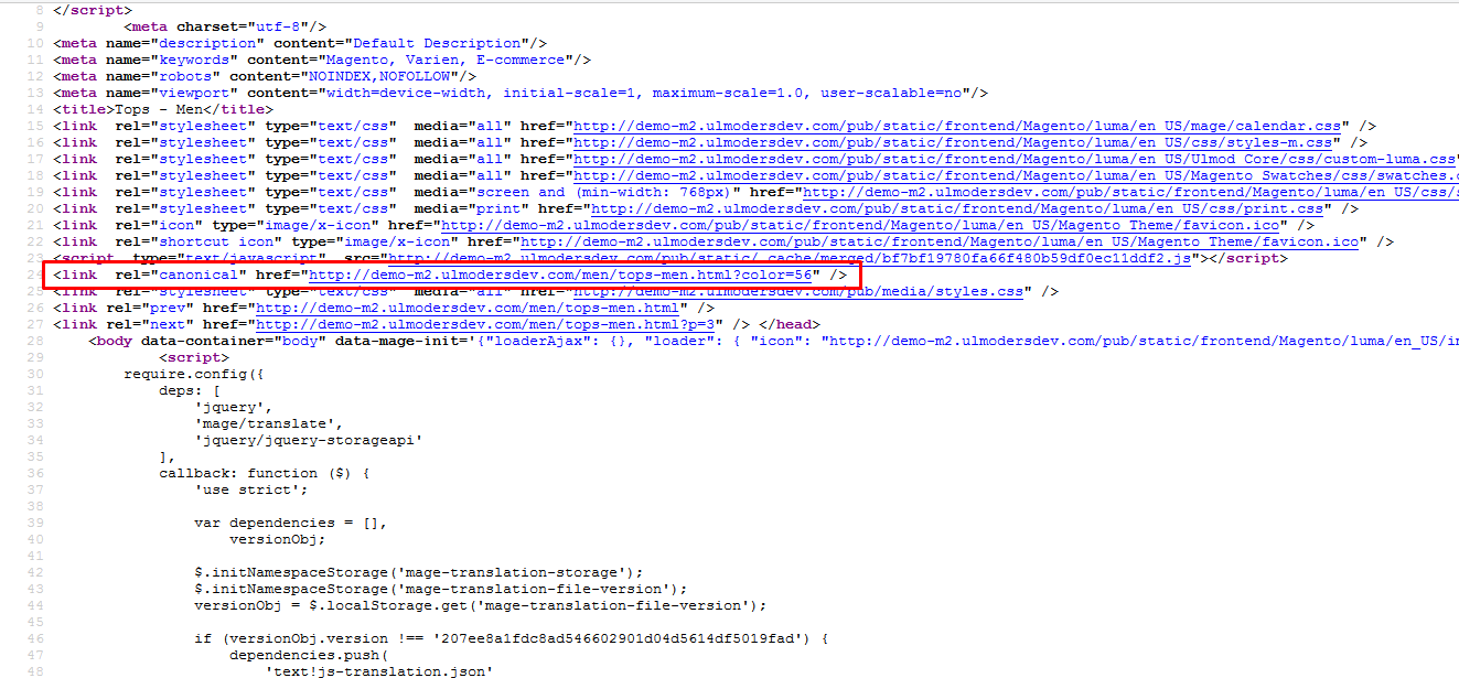 Canonical url in layered page