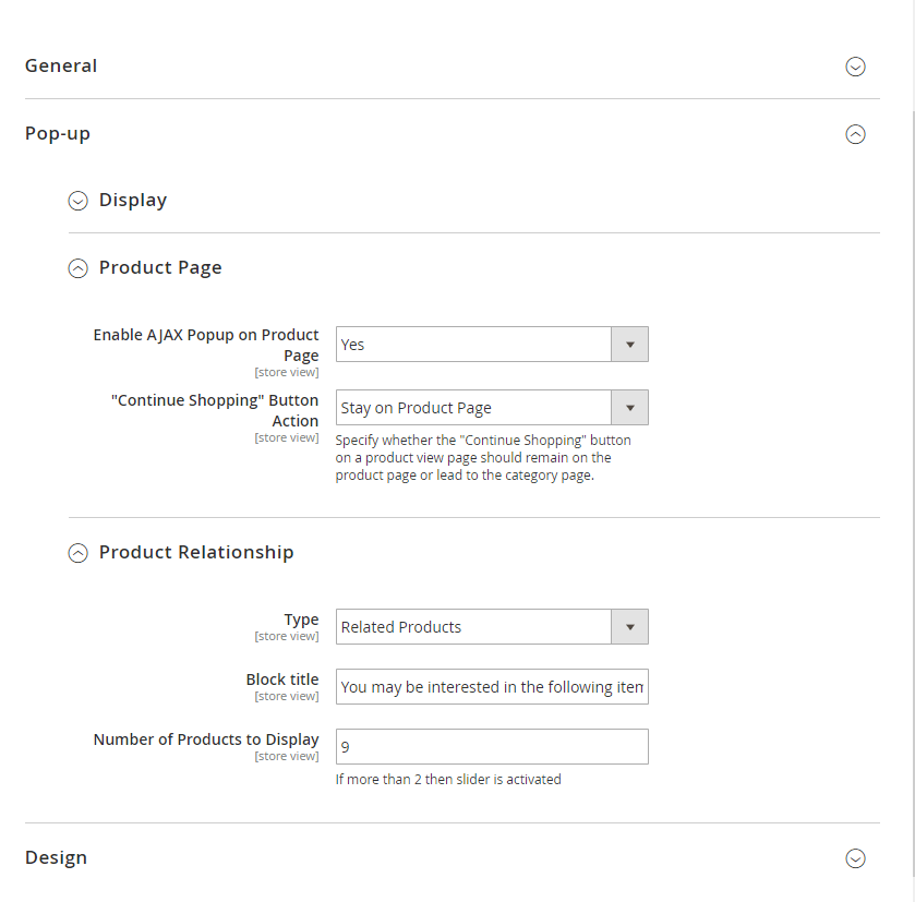 Product page and relationship settings