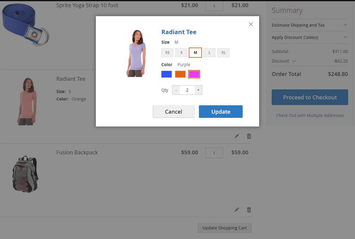 Edit configurable product