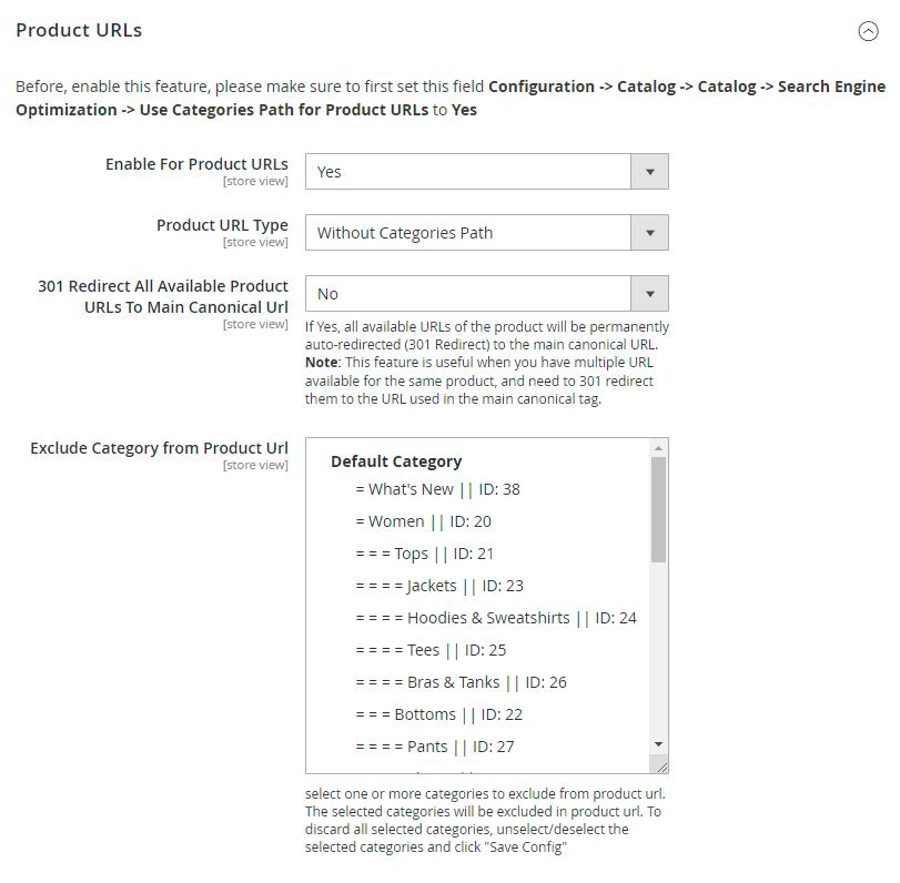 Product URLs settings
