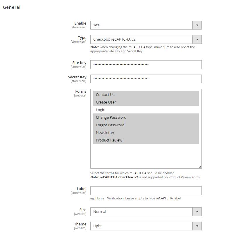 Checkbox reCaptcha settings