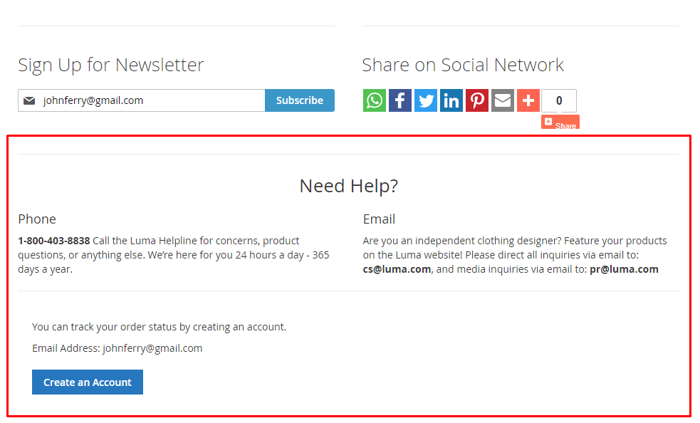 Help and registration blocks at the bottom section