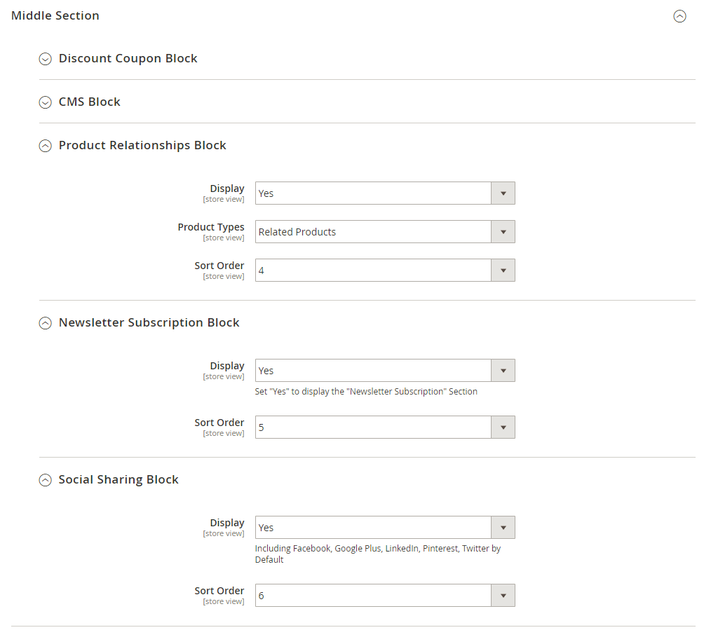 Relationships, subscription and sharing settings