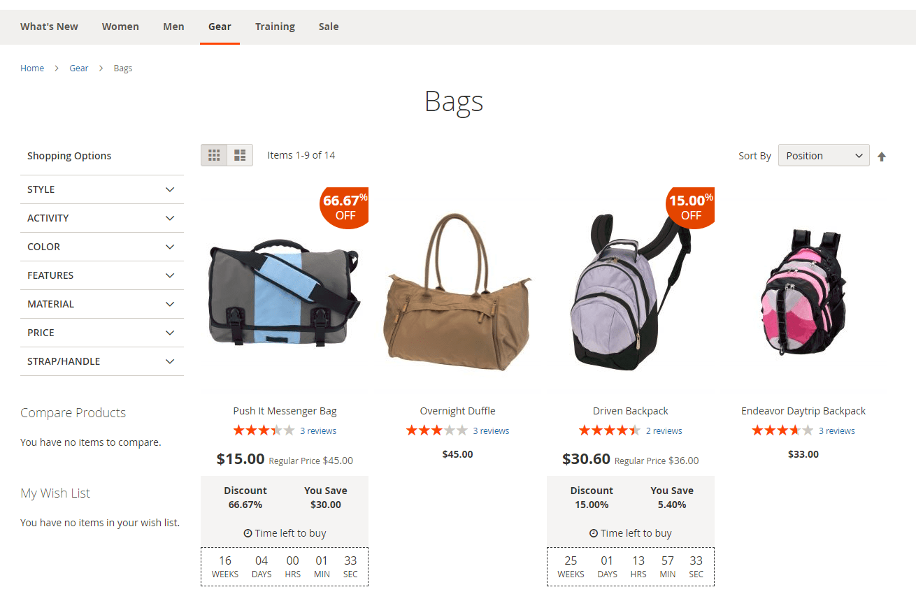 Deals on category page