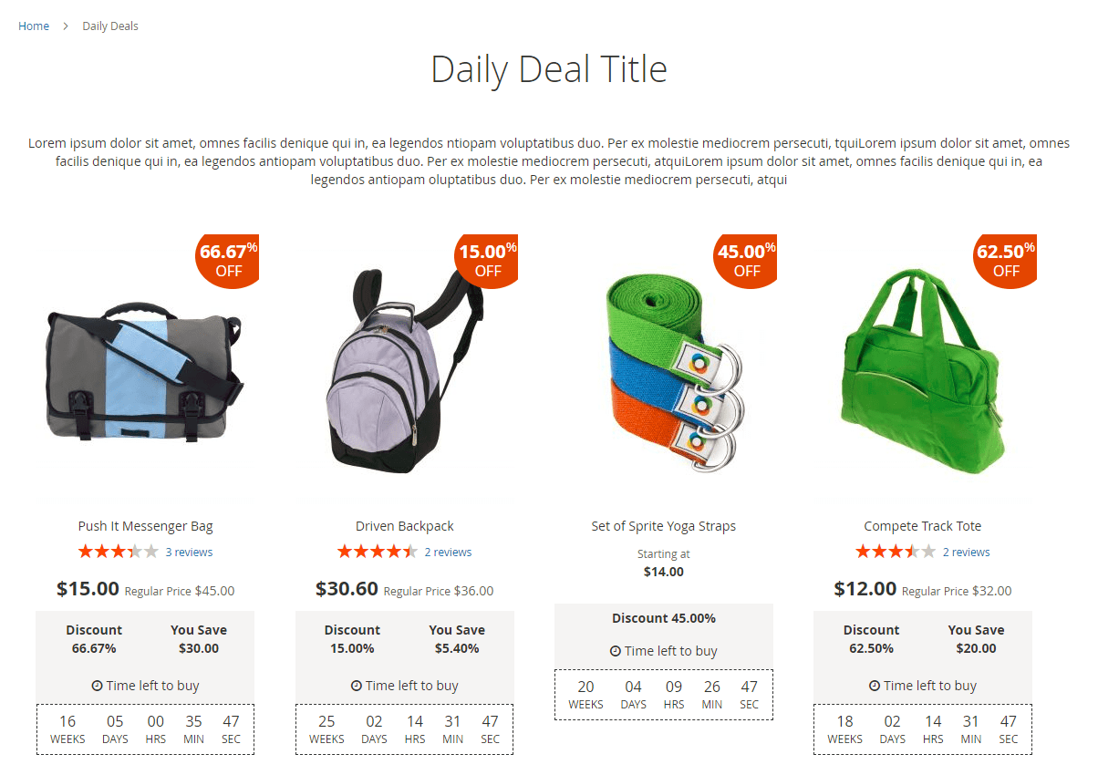 Main deals page