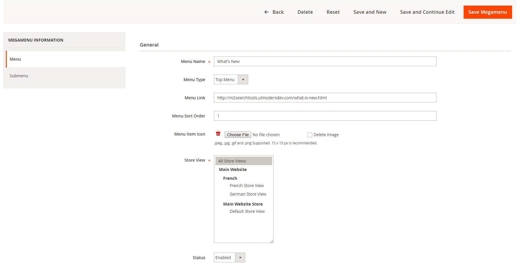 Specify menu general information