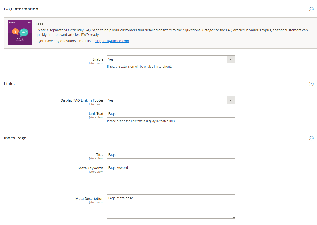 Links and index page settings