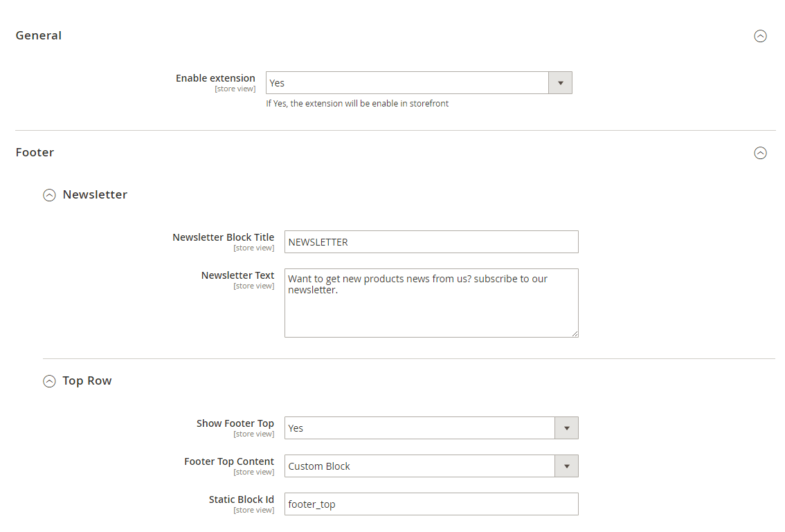 General newsletter and footer top row settings