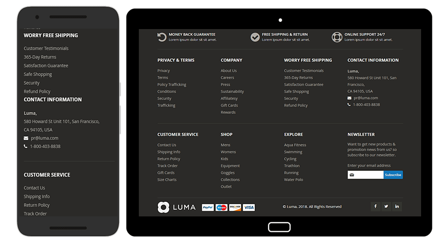 Footer on mobile devices
