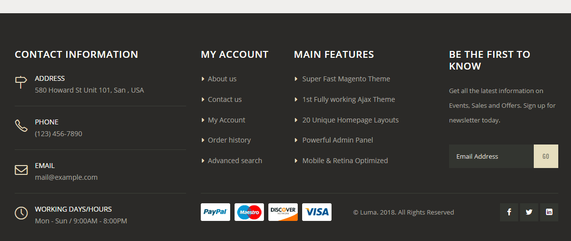 Footer with one middle and bottom rows