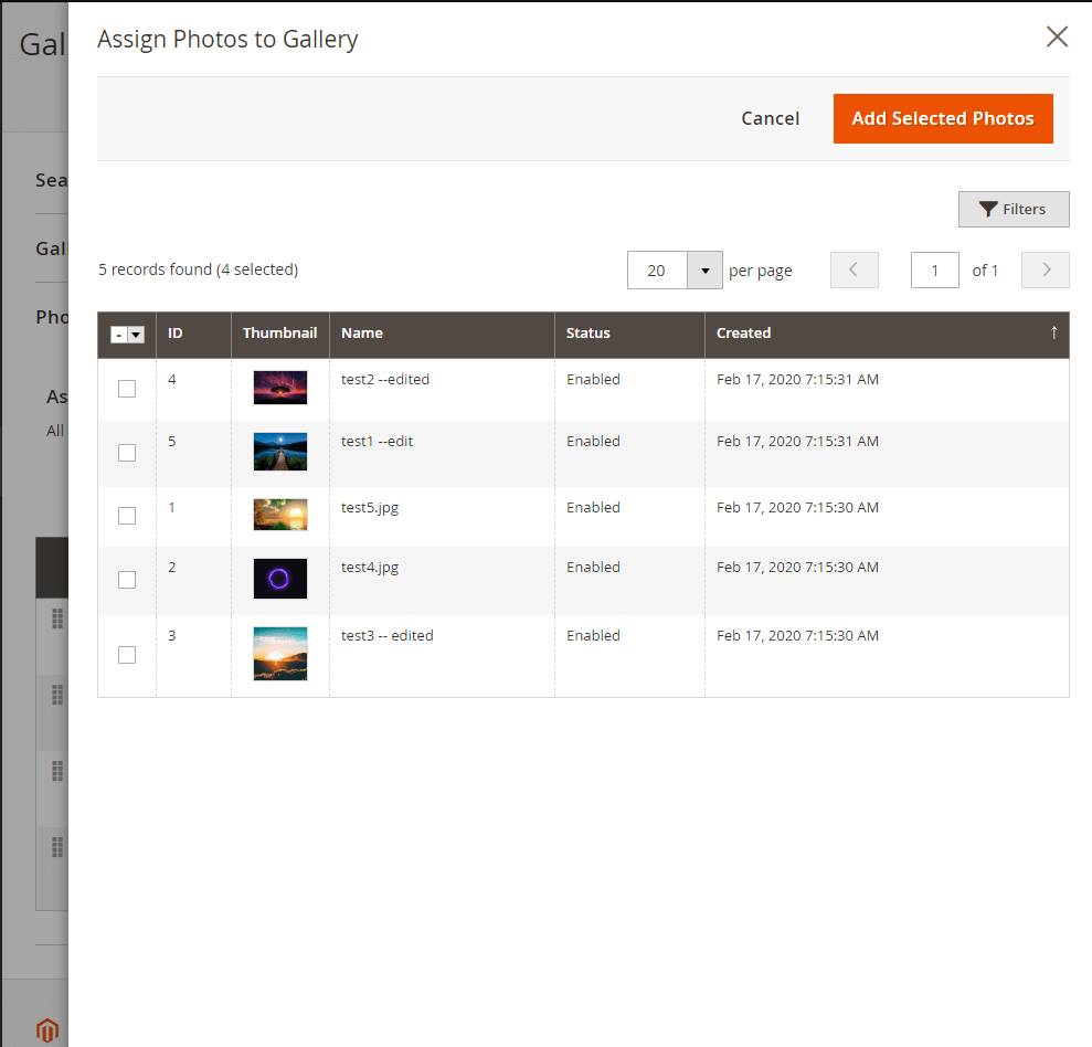 Assign photos to gallery