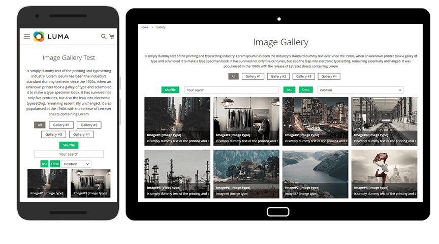 Image gallery on mobile devices