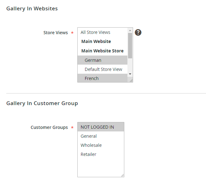 Restrict gallery by store view and customer groups