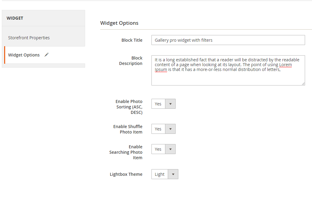 Widget options for gallery with filters