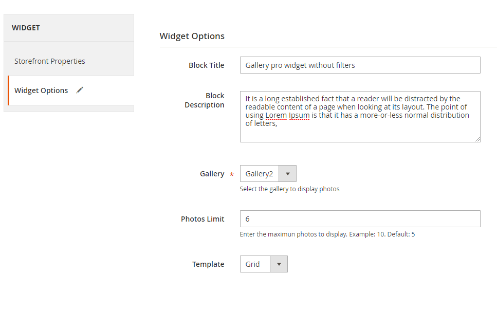 Widget options for gallery without filters