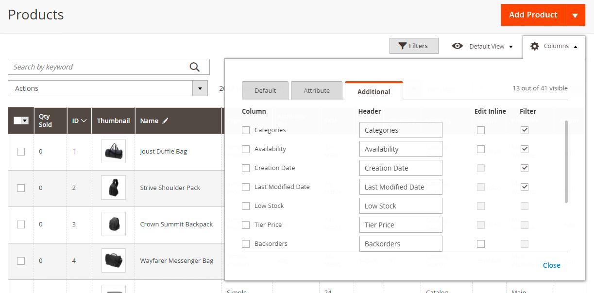 Additional column tab
