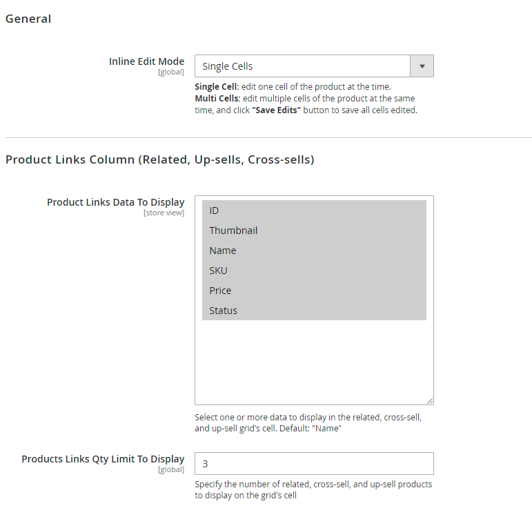 General and product links settings