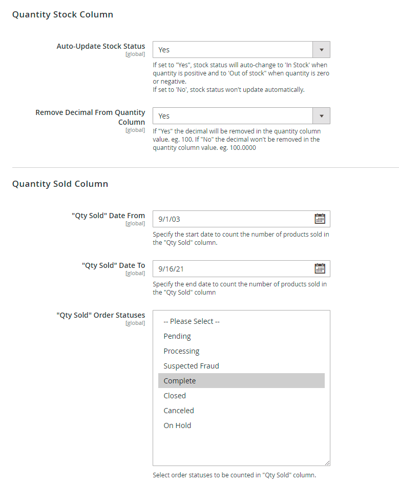 Quantity stock and sold settings