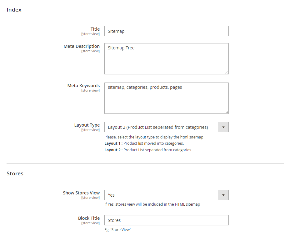 Index and stores settings