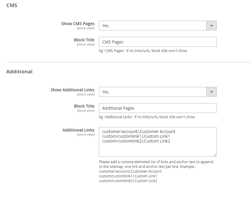 CMS and additional page settings