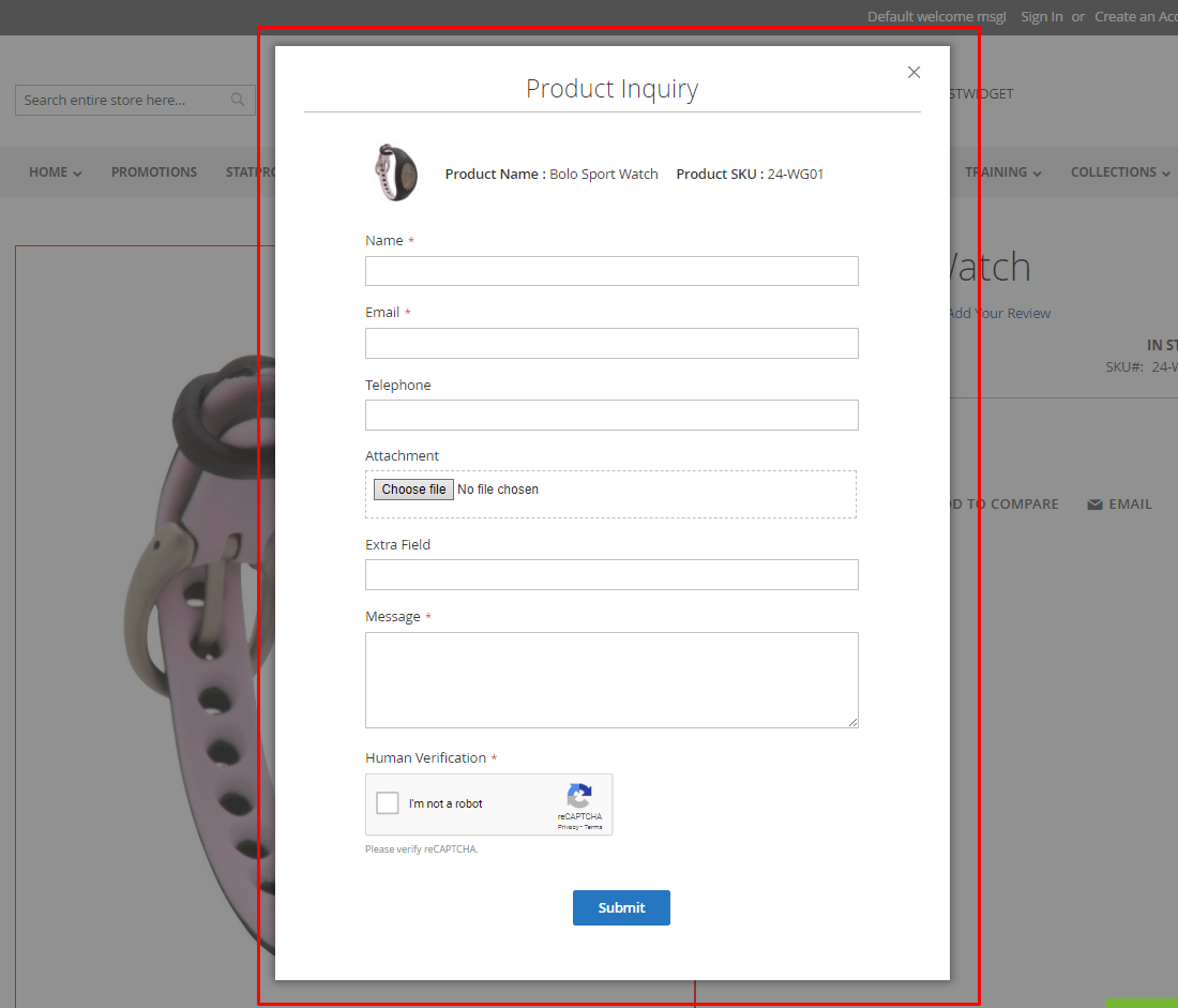 Inquiry form in popup