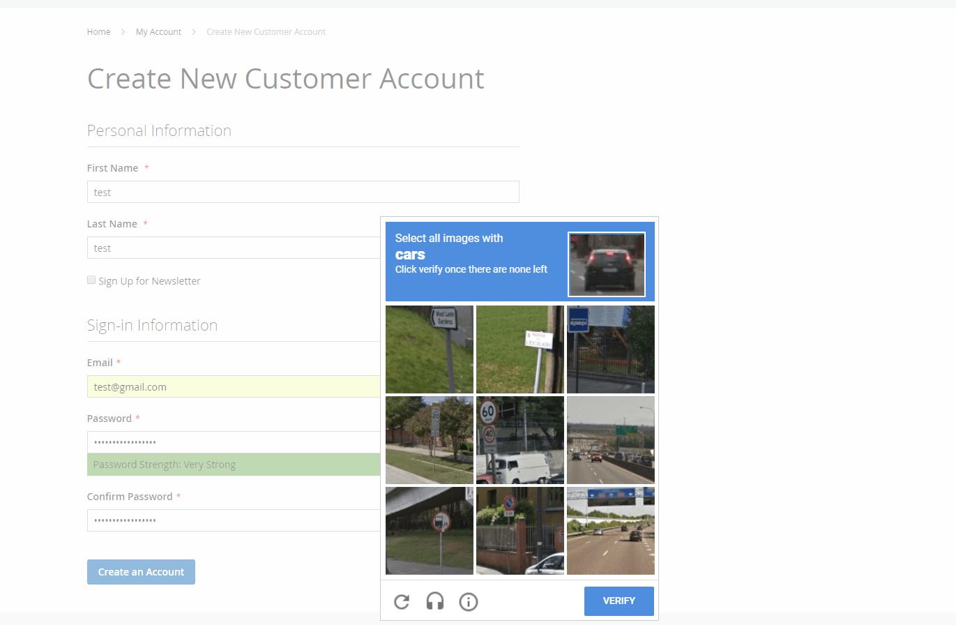 Invisible reCAPTCHA in register form