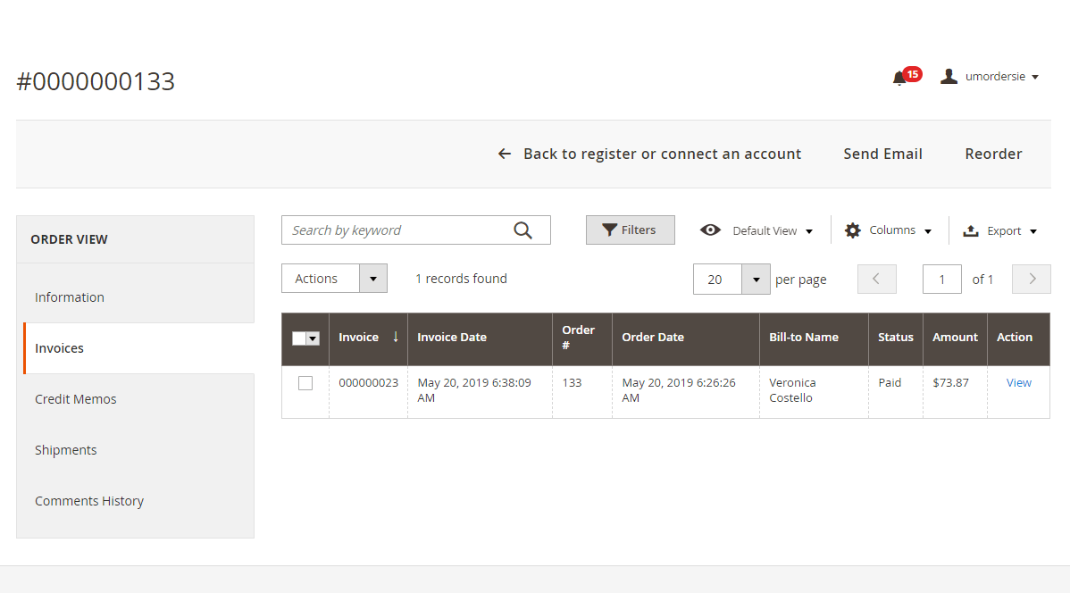 Invoice created during order import