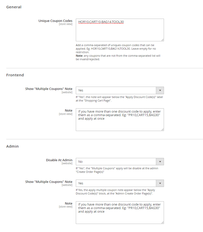 General, frontend, and admin settings