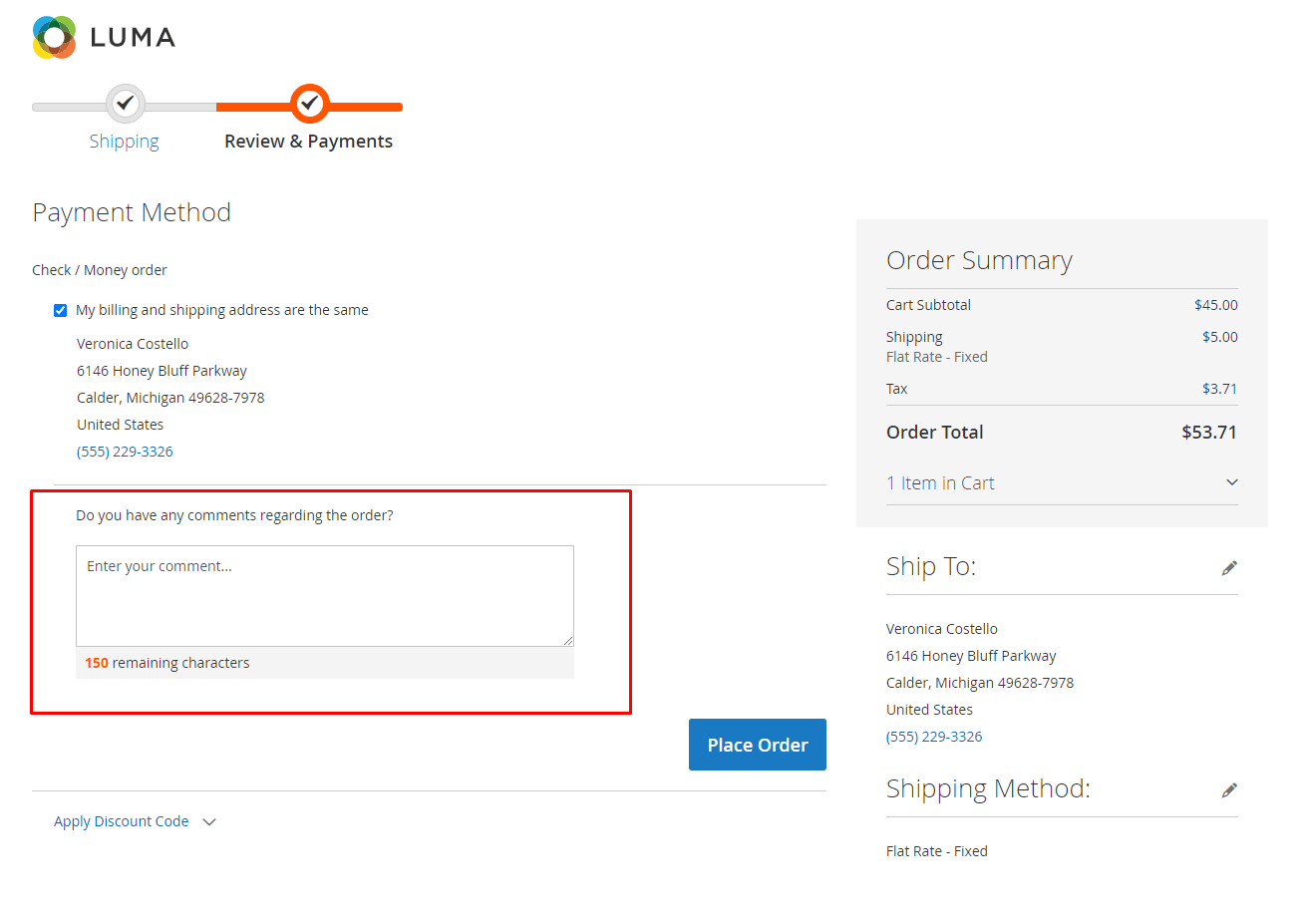 Order comment with no expand/collapse