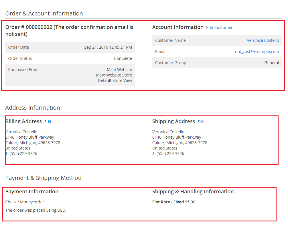Account, address, payment and shipping method data imported