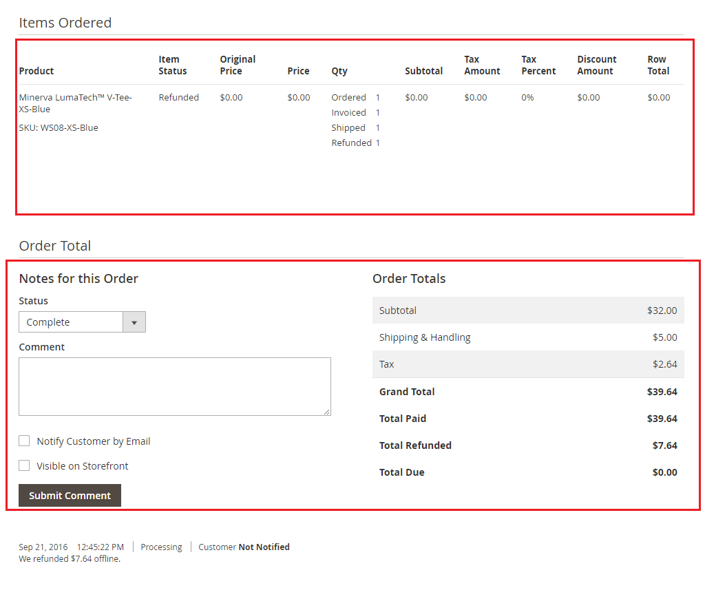 Ordered items, comments and order total imported