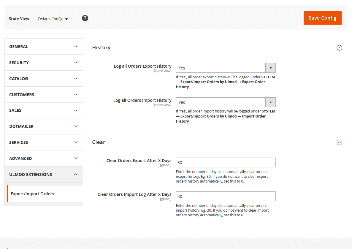 Export/import history and clearing settings