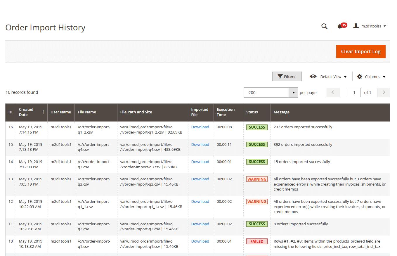 Order import history