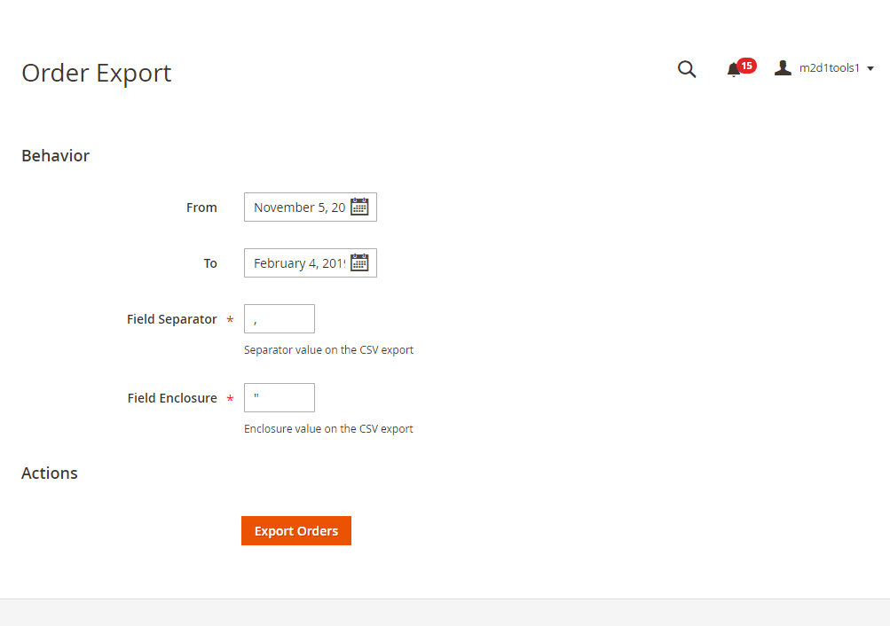 Export order from backend