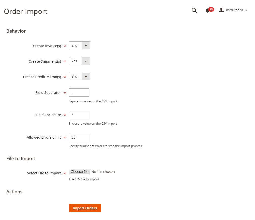 Import order from backend