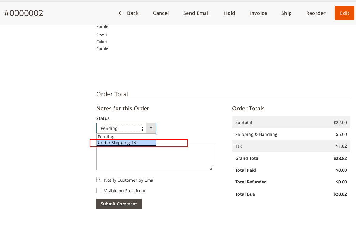 Change custom order status from order edit page