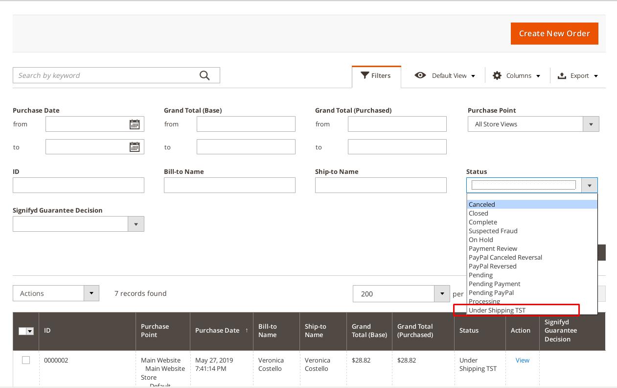 Custom order status on order filters